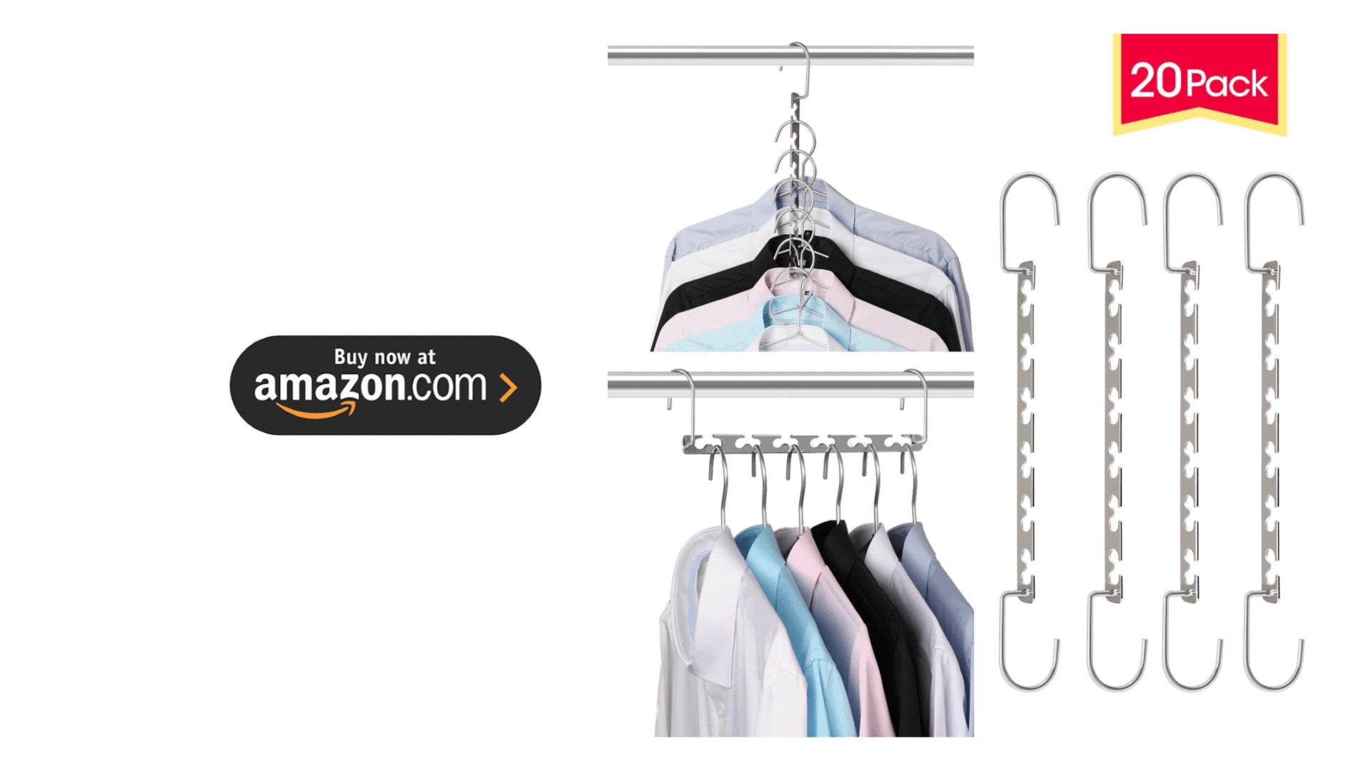 Giftol Space Saving Hangers Metal Hanger Magic Cascading Hanger Closet Clothes Organizer